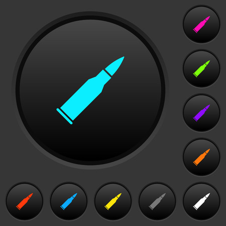 Bullet rifle ammo dark push buttons with vivid color icons on dark grey background Illustration