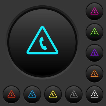 Emergency call dark push buttons with vivid color icons on dark grey background
