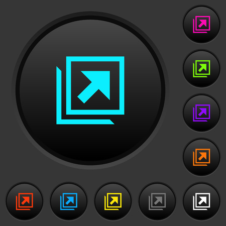 Open in new window dark push buttons with vivid color icons on dark grey background