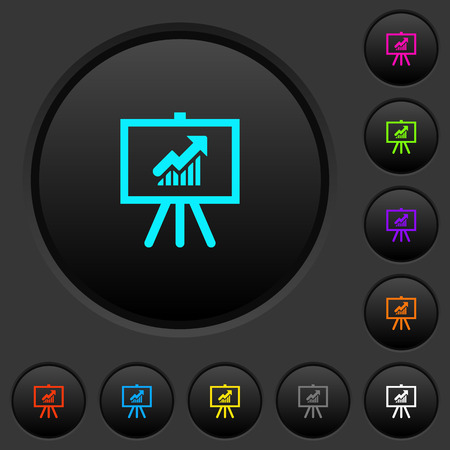 Presentation table with rising graph dark push buttons with vivid color icons on dark grey background