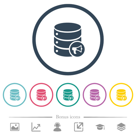 Database alerts flat color icons in round outlines. 6 bonus icons included. Illustration