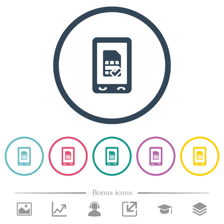 Mobile simcard accepted flat color icons in round outlines. 6 bonus icons included.