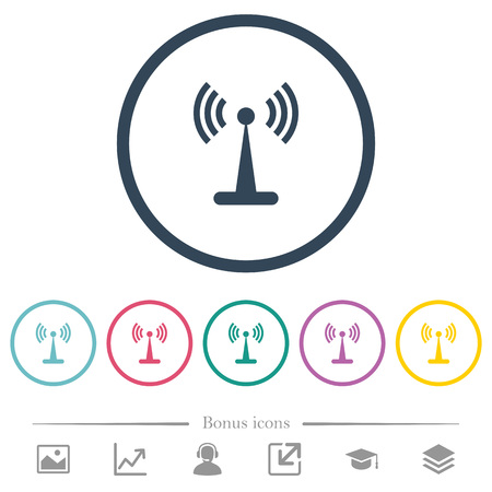 Wlan network flat color icons in round outlines. 6 bonus icons included.