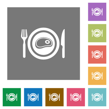 Steak for lunch flat icons on simple color square backgrounds Vettoriali