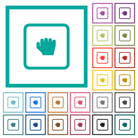 Grab object flat color icons with quadrant frames on white background