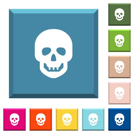 Human skull white icons on edged square buttons in various trendy colors