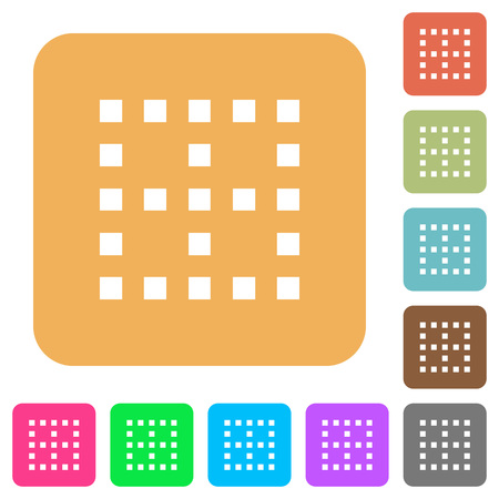 No borders flat icons on rounded square vivid color backgrounds. Illustration