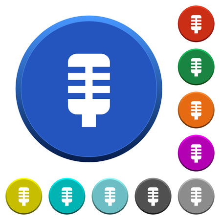Microphone round color beveled buttons with smooth surfaces and flat white icons