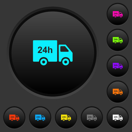 24 hour delivery truck dark push buttons with vivid color icons on dark grey background Illustration