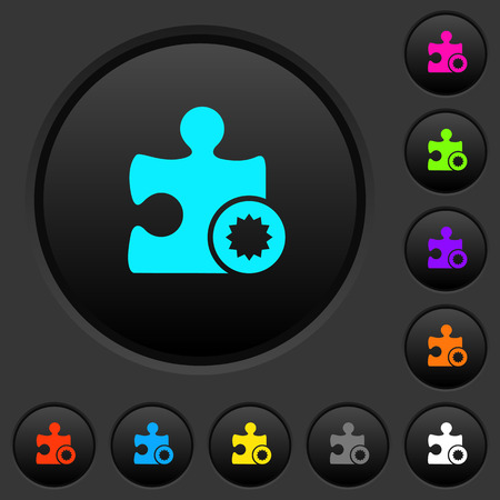 Certified plugin dark push buttons with vivid color icons on dark grey background
