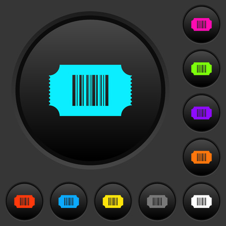 Ticket with barcode dark push buttons with vivid color icons on dark grey background Illustration