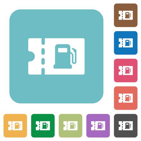 Cupón de descuento de combustible iconos planos blancos sobre fondos cuadrados redondeados de color