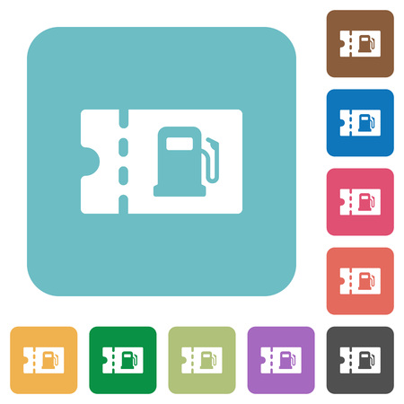 Fueling discount coupon white flat icons on color rounded square backgrounds
