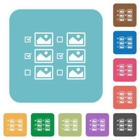 Multiple image selection with checkboxes white flat icons on color rounded square backgrounds Vectores