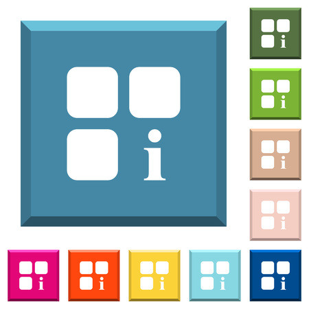 Component information white icons on edged square buttons in various trendy colors