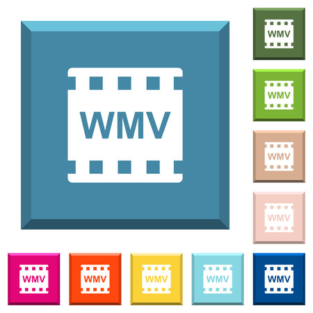 WMV movie format white icons on edged square buttons in various trendy colors  イラスト・ベクター素材