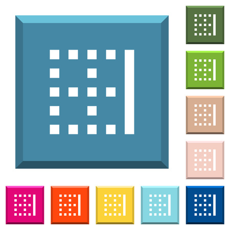 Right border white icons on edged square buttons in various trendy colors Illustration