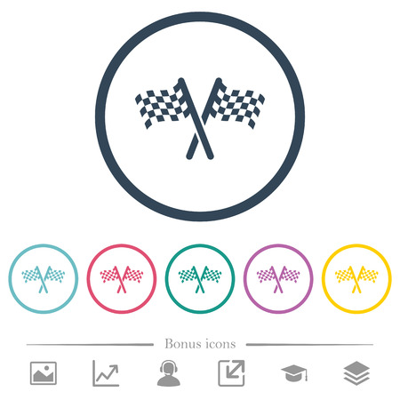 Two chequered flags flat color icons in round outlines. 6 bonus icons included.
