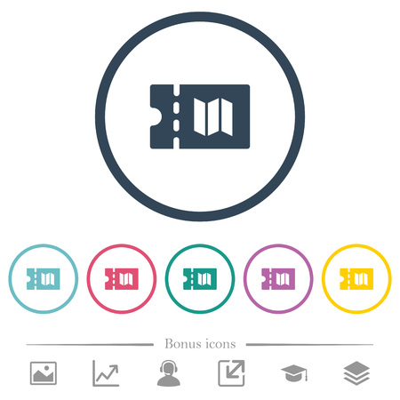 Travel discount coupon flat color icons in round outlines. 6 bonus icons included.