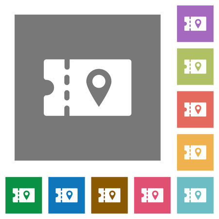 discount coupon location flat icons on simple color square backgrounds