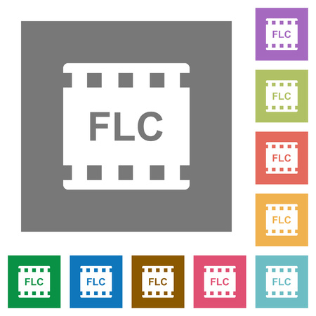 FLC movie format flat icons on simple color square backgrounds Illustration