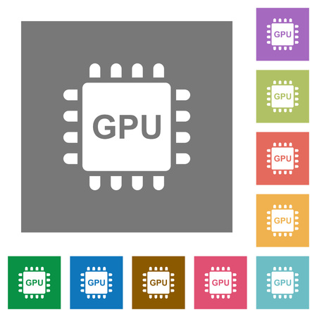 Graphics processing unit flat icons on simple color square backgrounds Illustration
