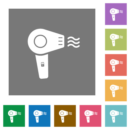 Hairdryer flat icons on simple color square backgrounds