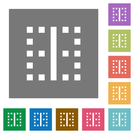 Vertical border flat icons on simple color square backgrounds