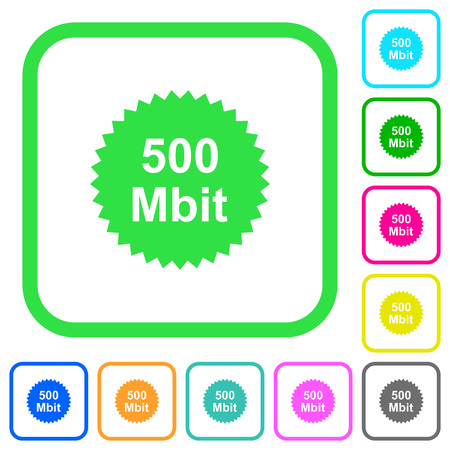 500 mbit guarantee sticker vivid colored flat icons in curved borders on white background Illustration