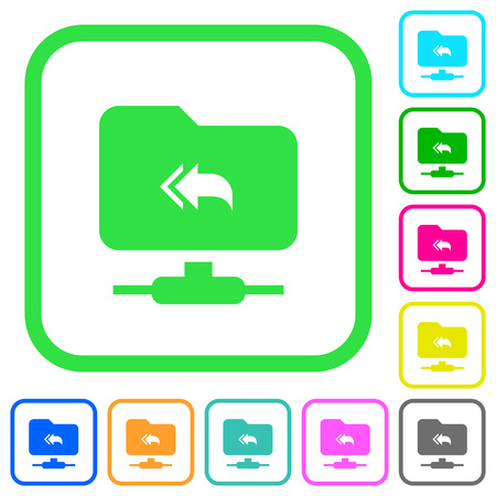 FTP root directory vivid colored flat icons in curved borders on white background