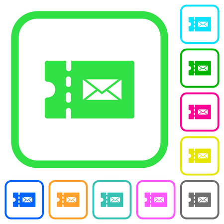 Postal discount coupon vivid colored flat icons in curved borders on white background Illustration