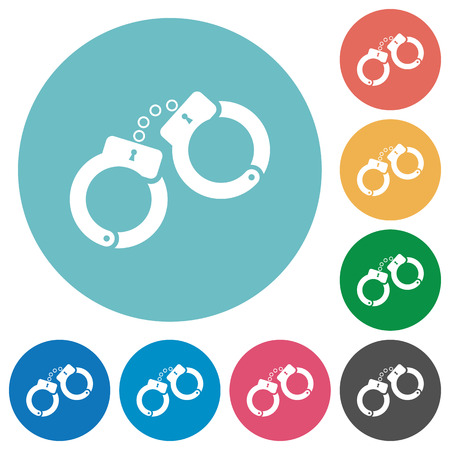 Handcuffs flat white icons on round color backgrounds