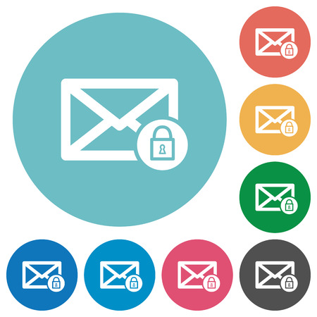 Lock mail flat white icons on round color backgrounds