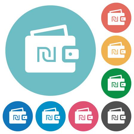 Israeli new Shekel wallet flat white icons on round color backgrounds