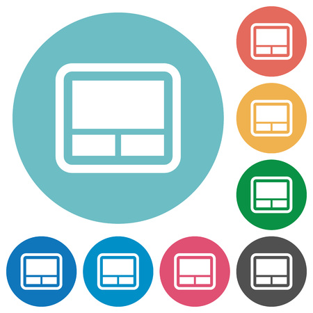 Laptop touchpad flat white icons on round color backgrounds