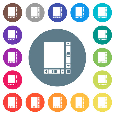 Blank document with scroll bars flat white icons on round color backgrounds. 17 background color variations are included.