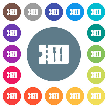 Dinner discount coupon flat white icons on round color backgrounds. 17 background color variations are included. Illustration