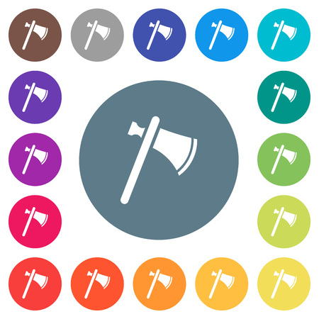Single tomahawk flat white icons on round color backgrounds. 17 background color variations are included.
