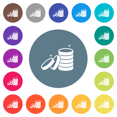 Stack of treasure flat white icons on round color backgrounds. 17 background color variations are included.