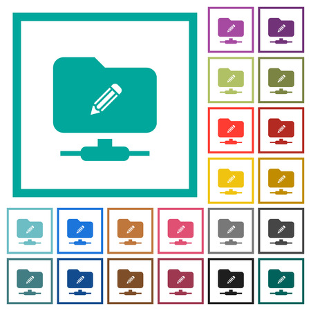 FTP edit flat color icons with quadrant frames on white background