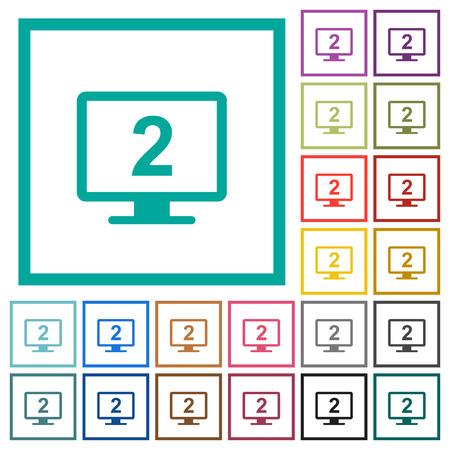 Secondary display flat color icons with quadrant frames on white background