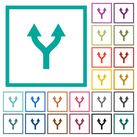 Split arrows up flat color icons with quadrant frames on white background