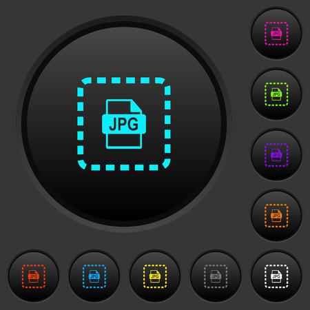 Coloque los botones pulsadores oscuros del archivo jpg con iconos de colores vivos sobre fondo gris oscuro Ilustración de vector