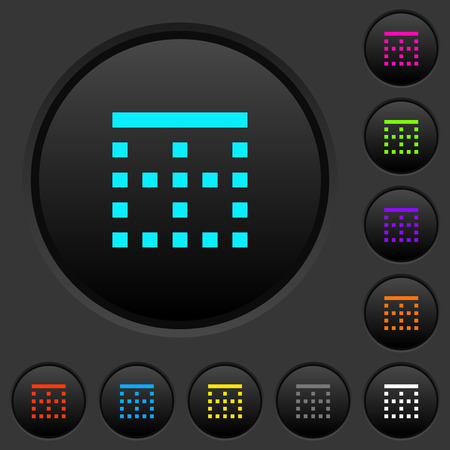 Top border dark push buttons with vivid color icons on dark grey background Illustration