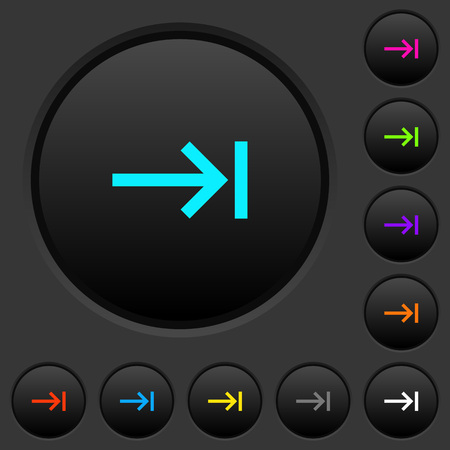 Keyboard tab dark push buttons with vivid color icons on dark grey background Illusztráció