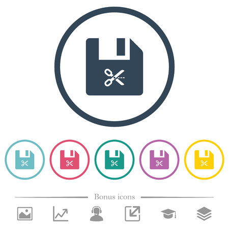 Cut file flat color icons in round outlines. 6 bonus icons included.