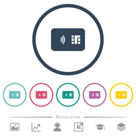 Icônes de couleur plate de carte à puce NFC dans les contours ronds 6 icônes bonus incluses.