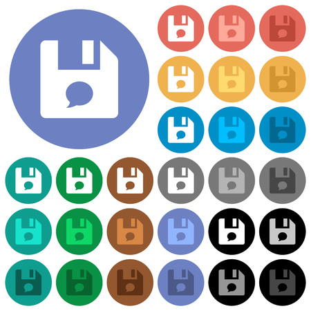 File comment multi colored flat icons on round backgrounds. Included white, light and dark icon variations for hover and active status effects, and bonus shades.