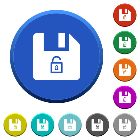 Unlock file round color beveled buttons with smooth surfaces and flat white icons