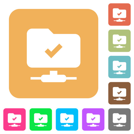 FTP operation successful flat icons on rounded square vivid color backgrounds.